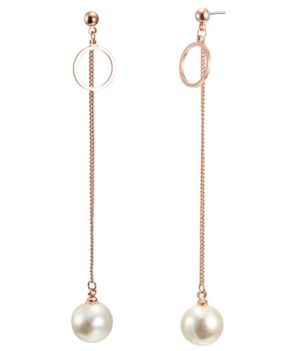 深圳定制韩国新款耳钉外贸专供 长款韩版珍珠几何耳环